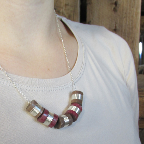 hand made wood turned 5 bead necklace