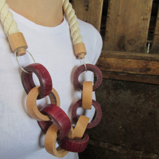 hand made wood turned wooden chain necklace