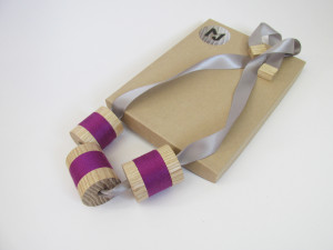 hand made wood turned ribbon necklace