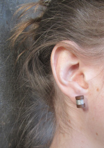 hand made wood turned stud earrings