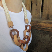 hand made wood turned chain necklace