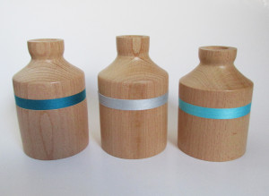 hand made wood turned small pots
