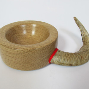 hand made wood turned horn bowl