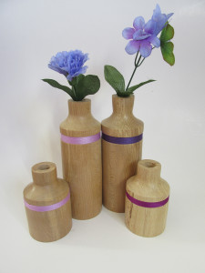 hand made wood turned flower pots